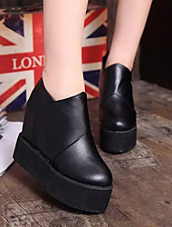 Women's Shoes Leatherette Flat Heel Novelty/Closed Toe Boots Party & Evening/Dress/Casual Black/Red/White