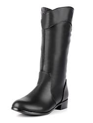 Calçados Femininos Courino Salto Baixo Arrendondado/Botas de Motocicleta Botas Escritório & Trabalho/Social/Casual Preto/Marrom/Branco