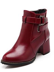DamenKleid Lässig-Kunstleder-Blockabsatz-Modische Stiefel-Schwarz Rot Beige