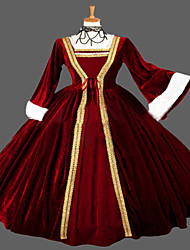 Steampunk®Wine Red Gothic Victorian Dress Long Ball Gown Reenactment Theatre Clothing