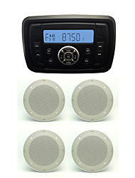Waterproof Marine Radio Stereo ATV UTV Audio Receiver+2 Pairs 4''White Waterproof Speakers