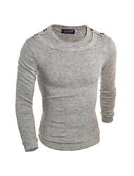 Men's Casual/Daily Simple Regular Pullover,Solid Round Neck Long Sleeves Wool Fall Winter Medium Micro-elastic