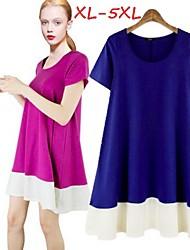 Women's Patchwork Blue/Purple Plus Size Dresses , Casual Round Short Sleeve