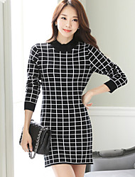 Women's High Collar Plaid Slim Knit Dress , Casual / Work Long Sleeve