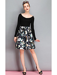 Women's Party/Cocktail A Line Dress,Solid / Print Boat Neck Above Knee Long Sleeve Black Polyester Fall