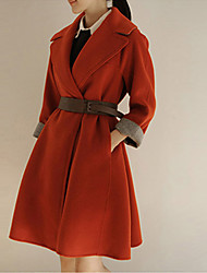 Women's Solid Red / Gray Coat , Casual Long Sleeve Others