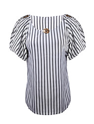 Women's Striped White / Yellow / Almond Blouse , Round Neck Short Sleeve