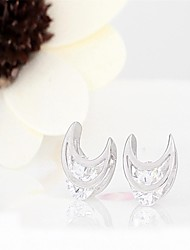 korean tv drama fashion charms 925 sterling silver 3a cz stud earrings,mercurial superfly crescent earrings brand