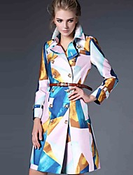 Women's Color Block Multi-color Trench Coat , Casual Long Sleeve Polyester