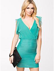 Topro Summer Casual Dress Chiffon Mini Bodycon Bandage Dress 9158