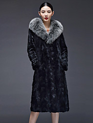 Women's Fashion Casual Fox Fur Spliced Genuine/Real Natural Mink Fur Coat/Jacket