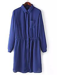 Vestidos ( Poliéster ) MULHERES - Casual Colarinho de Camisa - Manga Comprida