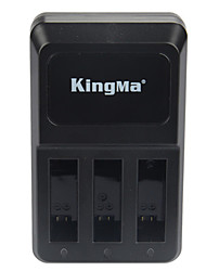 KingMa 3 Ports Sports Camera USB Charger For Gopro Hero 4 Sliver Black AHDBT-401 Battery