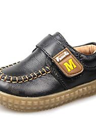 Boy's Fall Round Toe Leather Casual Black / Brown / Yellow / Khaki