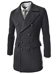 Men's Long Sleeve Long Trench coat , Tweed Pure Brief Large Lapel Double Breasted Male Slim Trench