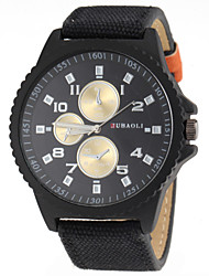 Men's Fashion Design Black Case Fabric Band Quartz Wrist Watch