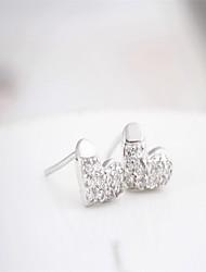 925 sterling silver diamond love heart rhinestone earrings korean tv drama,magnetic earrings for men