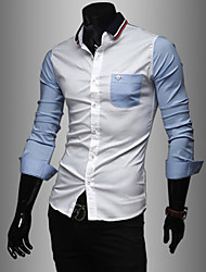 Men's Solid Casual / Work Shirt,Cotton Long Sleeve Blue / White