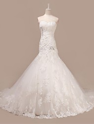 Trumpet/Mermaid Wedding Dress-Court Train Sweetheart Tulle