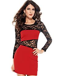De las mujeres Tallas Grandes Vestido Sexy / Fiesta Un Color Mini Escote Redondo Algodón / Licra