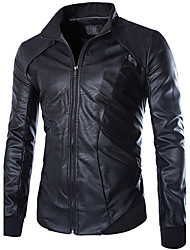 Men PU / Faux Leather Outerwear / Top