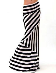 Women's Striped Black Skirts , Vintage / Bodycon / Casual Maxi