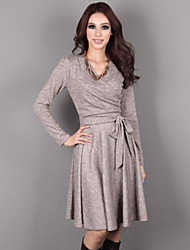 Women's Solid Black/Gray Dress , Casual/Cute V Neck Long Sleeve