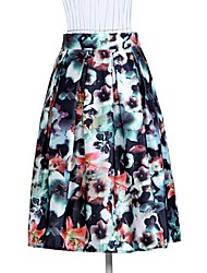 Women's Print Blue/Red/Green Skirts , Vintage/Print Knee-length
