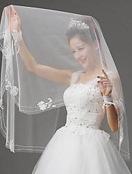 Wedding Veil One-tier Blusher Veils Beaded Edge