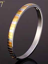U7® Unisex Gold/Rose Gold Two-Tone Gold Plated Stainless Steel Jewelry for Women or Men 2015 New Fashion Bangle