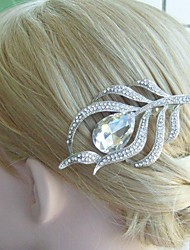 Bridal Headpiece Wedding Hair Comb Silver-tone Rhinestone Crystal Feather Hair Comb Bridal Hair Comb Wedding Jewelry