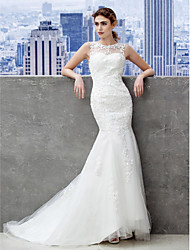Mermaid / Trumpet Jewel Neck Sweep / Brush Train Lace Tulle Wedding Dress with Beading Appliques Button by LAN TING BRIDE®