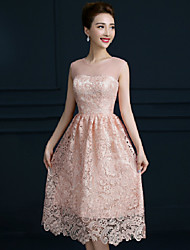 Tea-length Lace Bridesmaid Dress - Blushing Pink A-line Jewel