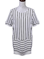 Women's Striped / Patchwork White / Black Blouse , Round Neck Short Sleeve