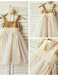 A-line Knee-length Flower Girl Dress - Tulle / Sequined Sleeveless