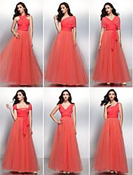 Lanting Bride® Longueur Sol Mousseline de soie / Tulle Robe Convertible Robe de Demoiselle d'Honneur - Trapèze Col en V avec