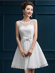 Short / Mini Lace Bridesmaid Dress A-line Jewel with Appliques / Lace