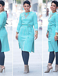 Xing Yu Woman'S Tight-Fitting Long-Sleeved Striped Dress