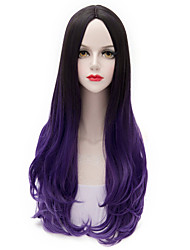 Cool Color Black Gradient Purple Harajuku Long Wavy U Part Hair Purecas Lolita Fashion Cosplay Party Women Synthetic Wig