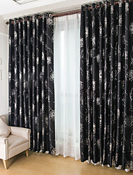 Two Panels European Fashion Silver Pressed Jacquard Blackout Curtains Shades