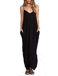 Women's Sexy / Beach Solid Loose Dress , Halter Maxi Cotton