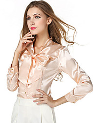 Women's Solid Red/Beige Shirt , Casual V Neck Long Sleeve Bow