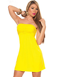 Women's Solid Yellow Dress , Sexy / Party Strapless Sleeveless  Club clothing