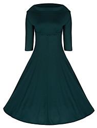 Women's Retro 50s Slim Solid Color Half Sleeve Swing Party Dress