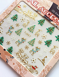 3D Gilding Christmas Series Christmas Trees Nail Art Stickers