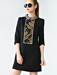 Women's Jacquard Black Dress  Vintage  Casual Shirt Collar  Sleeve