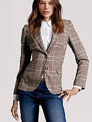CEN     Women's Plaid Multi-color Coats & Jackets , Casual Shirt Collar Long Sleeve