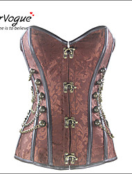 Burvogue Women's Brocade Steampunk Steel Boned Overbust Corset