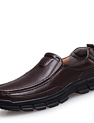 Men's Spring / Summer / Fall / Winter Round Toe Leather Casual Low Heel Slip-on Black / Brown
