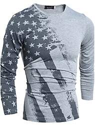 holiday,Men's High-Neck T-Shirts , Cotton / Rayon Long Sleeve Vintage / Casual Fashion Winter / Fall holiday